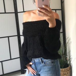 Sweaters - 🆕 JAYNE Soft Fuzzy Off Shoulder Sweater